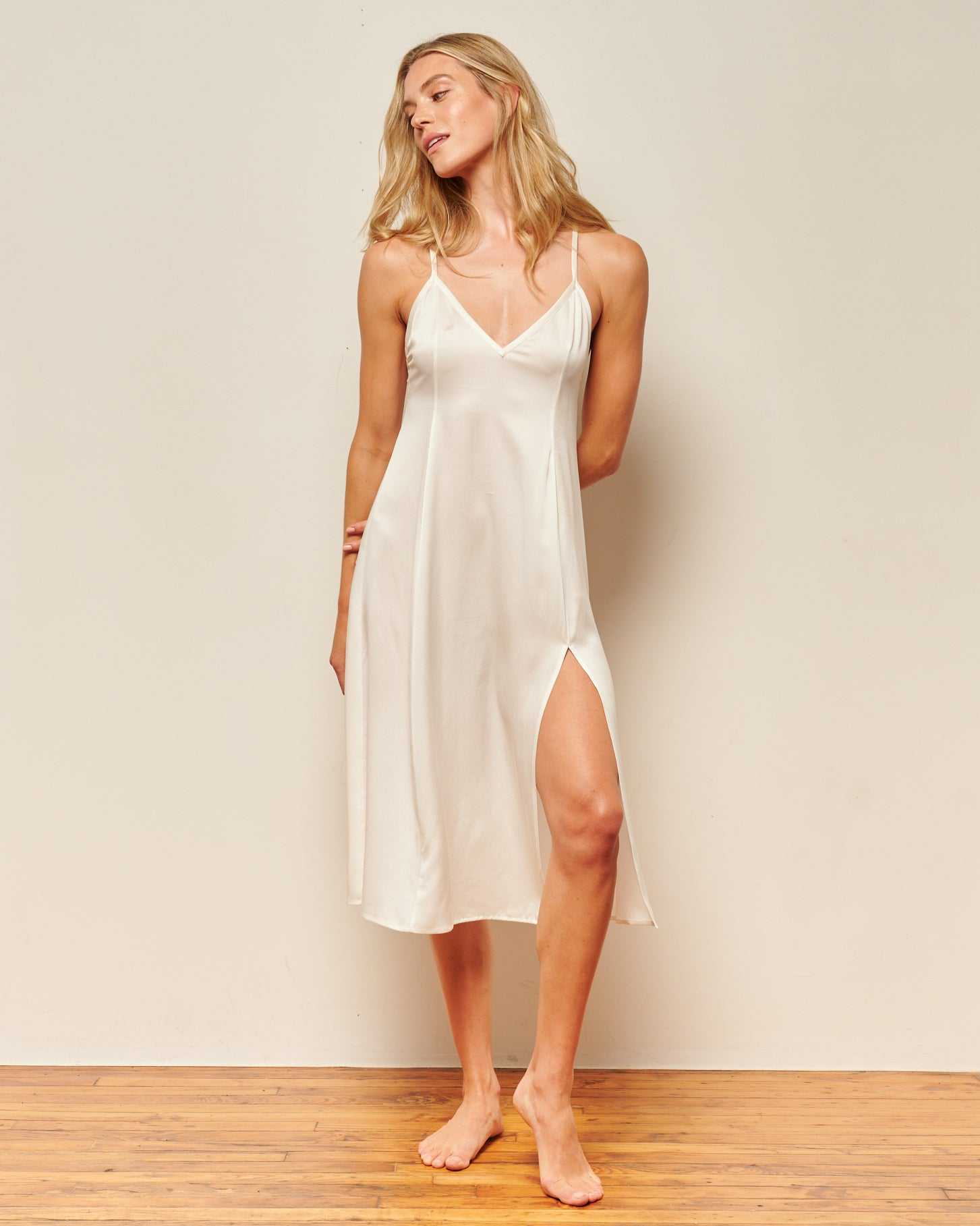 white silk nightgowns
