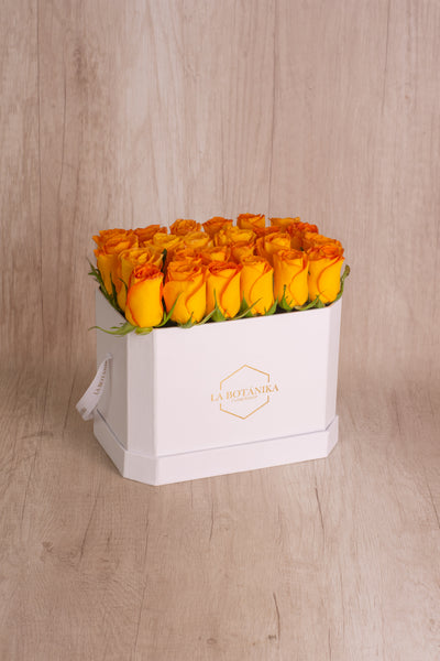 Love Box blanca 22 rosas Amarillas