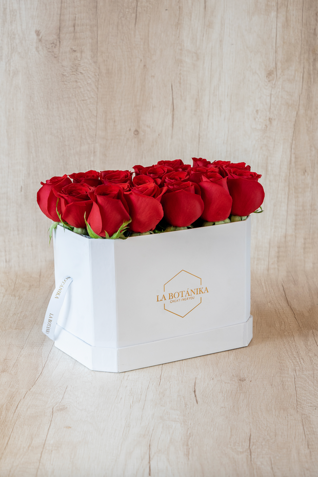 Love Box blanca 22 rosas rojas
