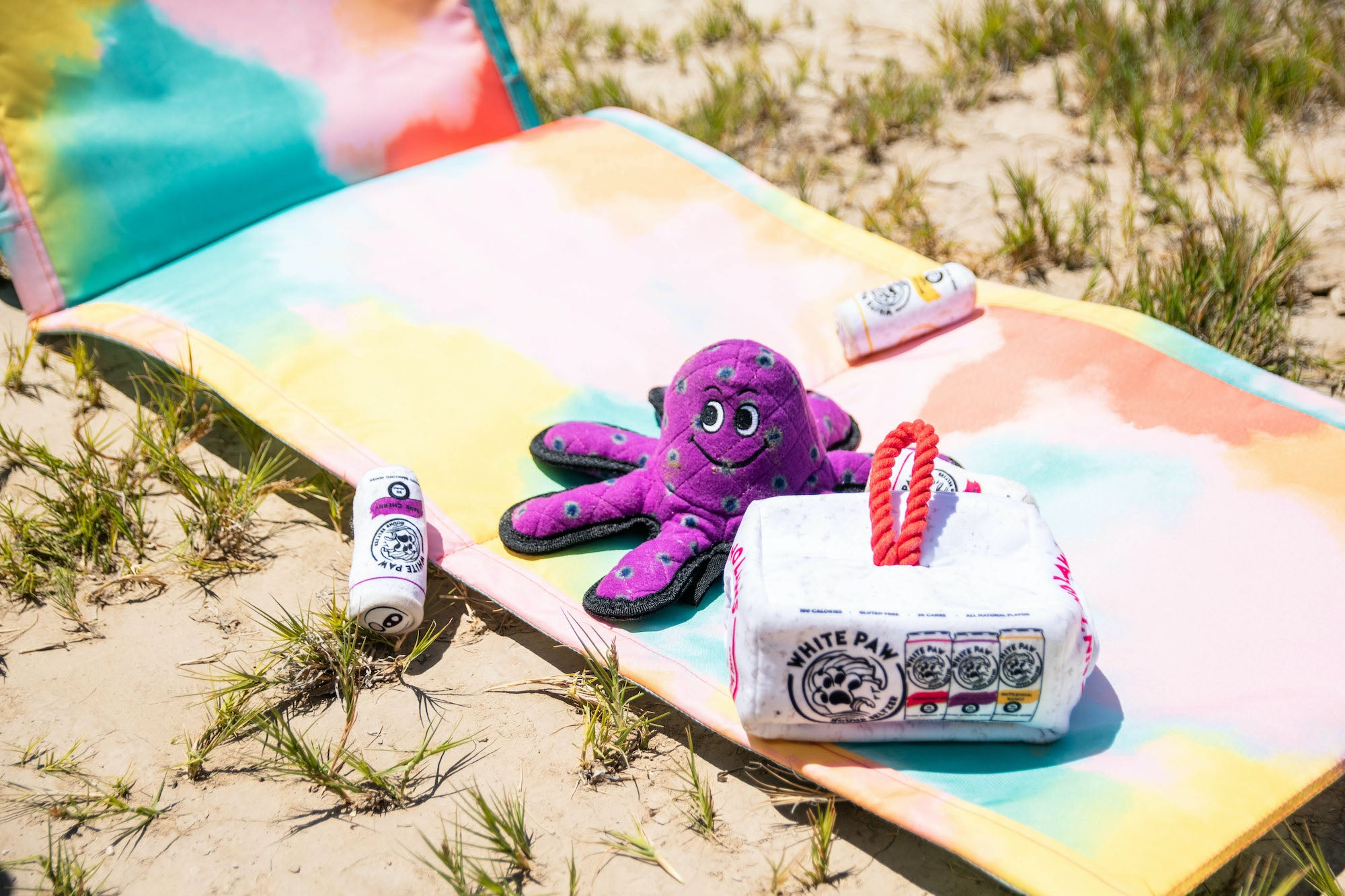 Tuffy octopus and Haute Diggity Dog White Paw Variety Pack dog toys on the beach.