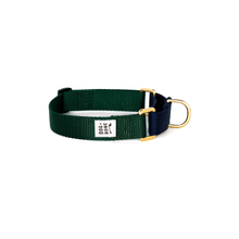 Load image into Gallery viewer, Dog + Bone Martingale Collar-Forest & Navy