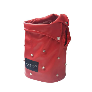 Eye of Dog Holiday Edition Red Moto Vest With Spikes