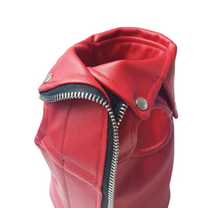 Eye of Dog Red Moto Vest With Spikes