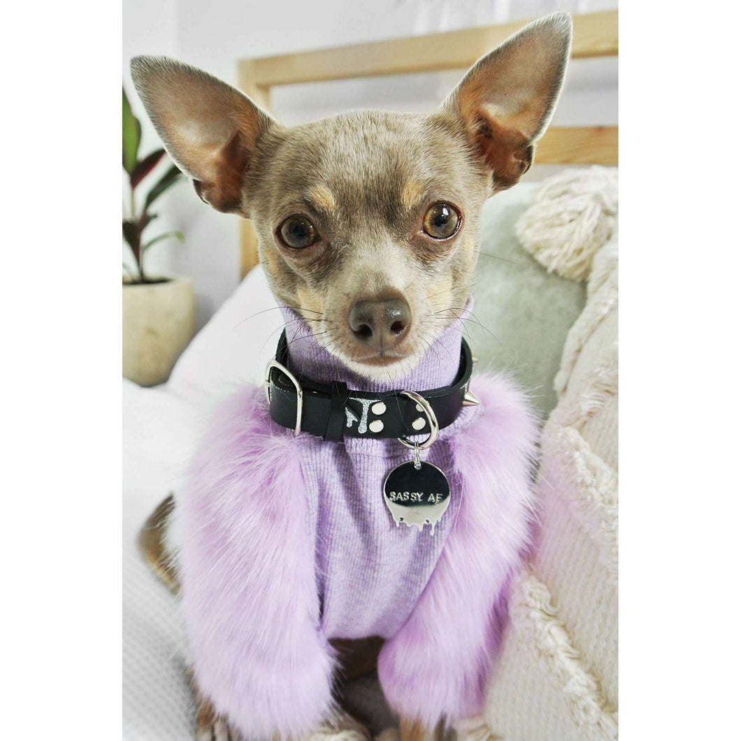 Eye of Dog Lilac Faux Fur Ribbed Top