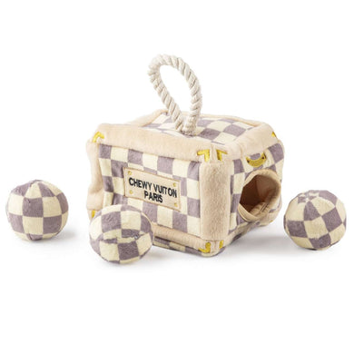 Haute Diggity Dog Checker Chewy Vuiton Trunk Activity House Dog Toy