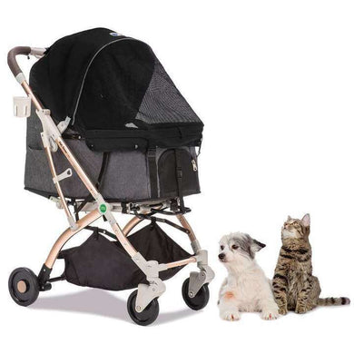HPZ Pet Rover Lite Premium Light Travel Stroller For Dogs, Cats, and Small Animals-Black