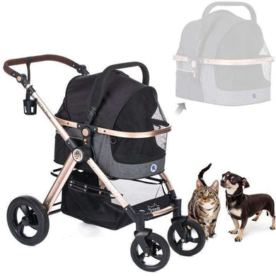HPZ Pet Rover Prime Luxury 3-In-1 Stroller For Dogs, Cats, & Small Animals-Black