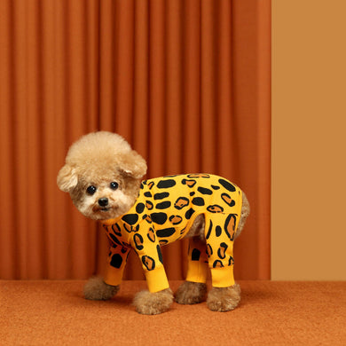 Huts and Bay Animal Print Onesie-Yellow