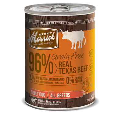 Merrick 96% Real Texas Beef Pate Canned Dog Food 12.7 oz.