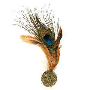 Natural Cat Toy Peacock Feather Catnip Ball