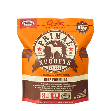 PRIMAL Beef Nuggets Frozen Raw Dog Food 3 lb