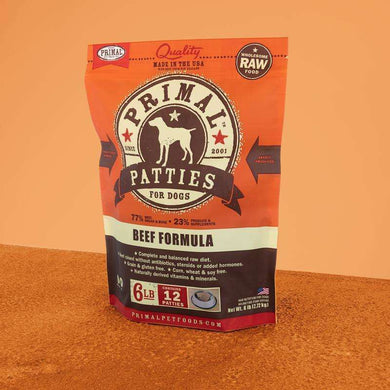 PRIMAL Beef Patties Frozen Raw Dog Food 6 lb