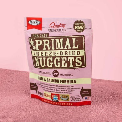 PRIMAL Beef & Salmon Nuggets Freeze-Dried Raw Cat Food 14 oz.