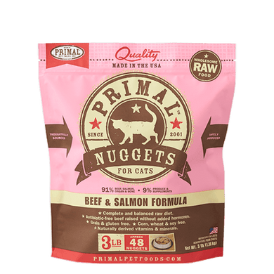 PRIMAL Beef & Salmon Nuggets Frozen Raw Cat Food 3 lb