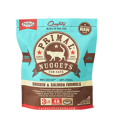PRIMAL Chicken & Salmon Nuggets Frozen Raw Cat Food 3 lb