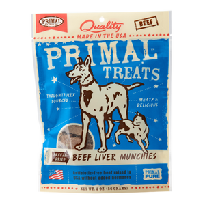 PRIMAL Freeze-Dried Beef Liver Munchies Dog Treats 2 oz.