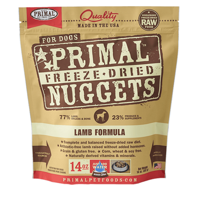 PRIMAL Lamb Nuggets Freeze-Dried Raw Dog Food 14 oz.