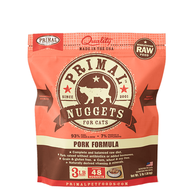 PRIMAL Pork Nuggets Frozen Raw Cat Food 3 lb