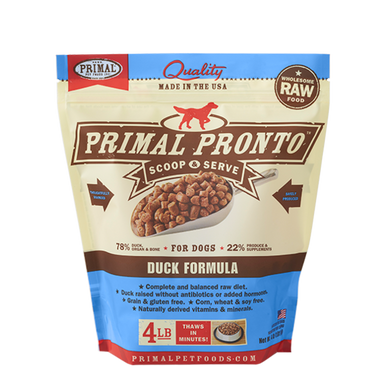 PRIMAL Pronto Duck Frozen Raw Dog Food 4 lb