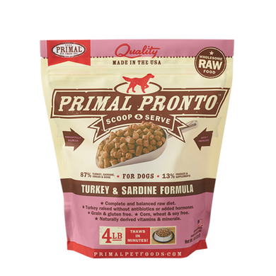 PRIMAL Pronto Turkey & Sardine Frozen Raw Dog Food 4 lb