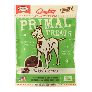 PRIMAL Turkey Jerky Chips Dog Treats 3 oz.
