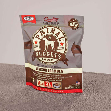 PRIMAL Venison Nuggets Frozen Raw Dog Food 3 lb