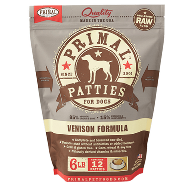 PRIMAL Venison Patties Frozen Raw Dog Food 6 lb