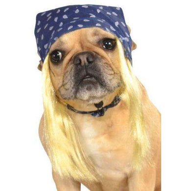 Rubie's Pet Rockstar Blonde Wig With Bandana