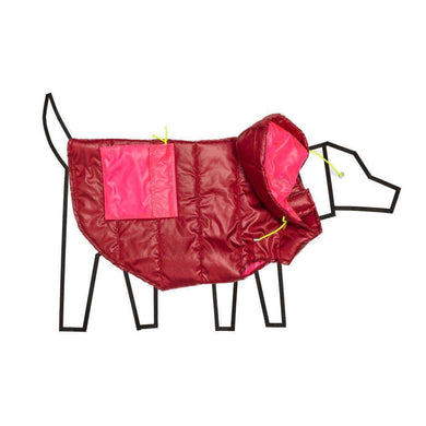Ware of the Dog Color Block Puffer-Burgundy/Pink