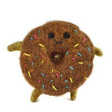 Ware of the Dog Felted Wool Donut Dog Toy-Chocolate