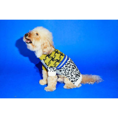 Ware of the Dog Leopard Combo Sweater-Ivory/Black