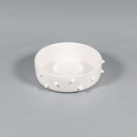 Ware of the Dog White Spiked Dog Bowl