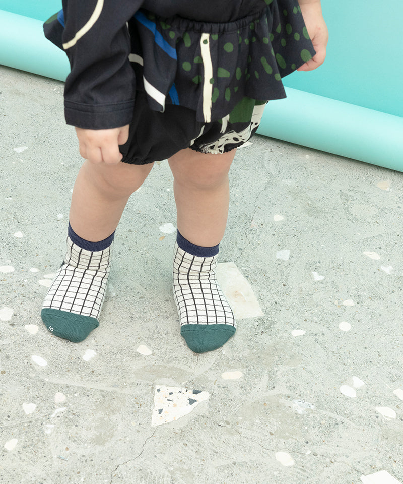 CHECK STRIPE SOCKS SET OF 2 (BABY)