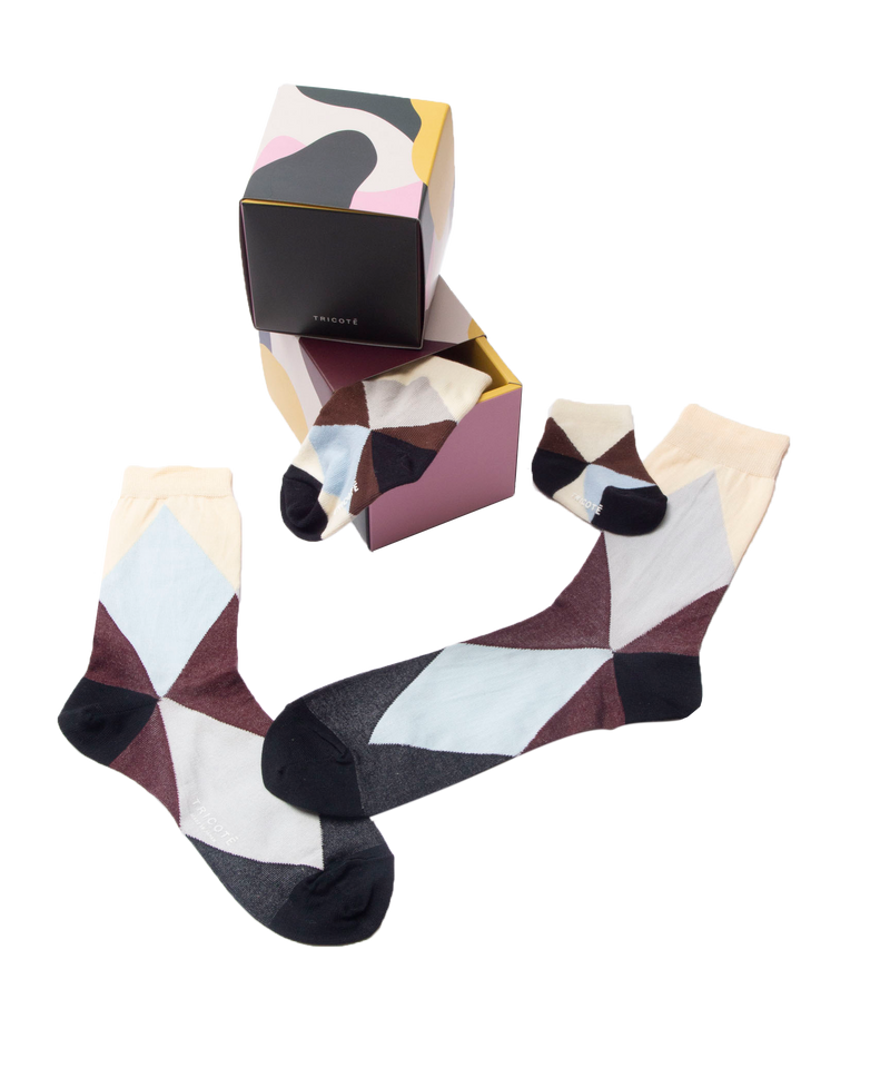 ARGYLE SOCKS FAMILIY L.BLUE 4SET
