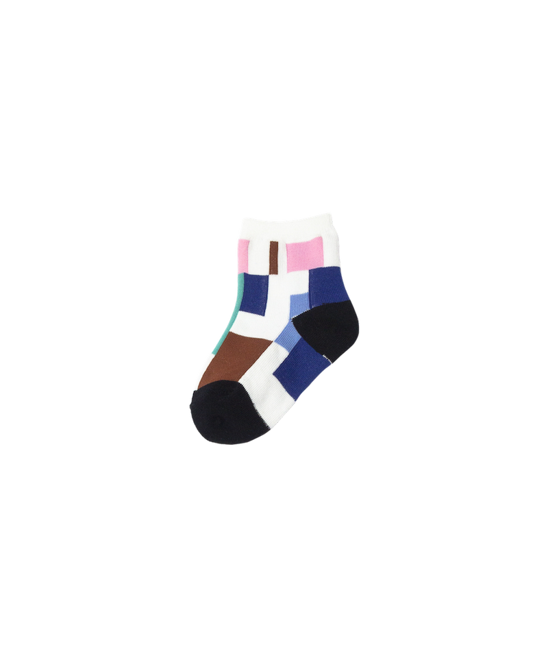 RANDOM PATCH SOCKS FAMILY WHITE 4SET
