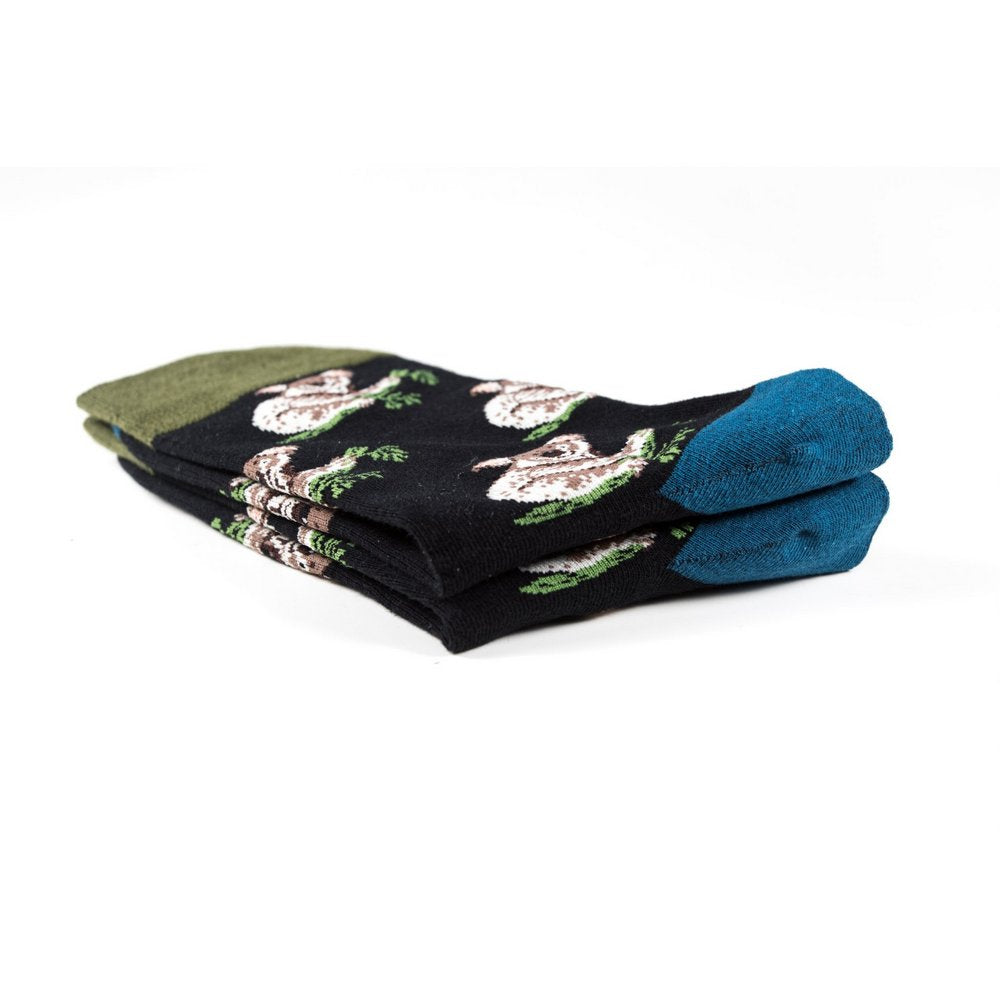 Funky novelty colourful socks for men and women in black koala print, close up showing thickness