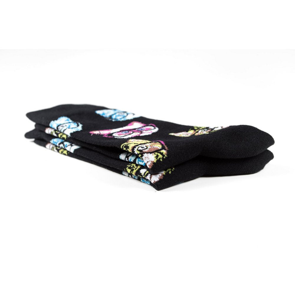 Funky novelty colourful socks for men and women in black cat print, close up showing thickness