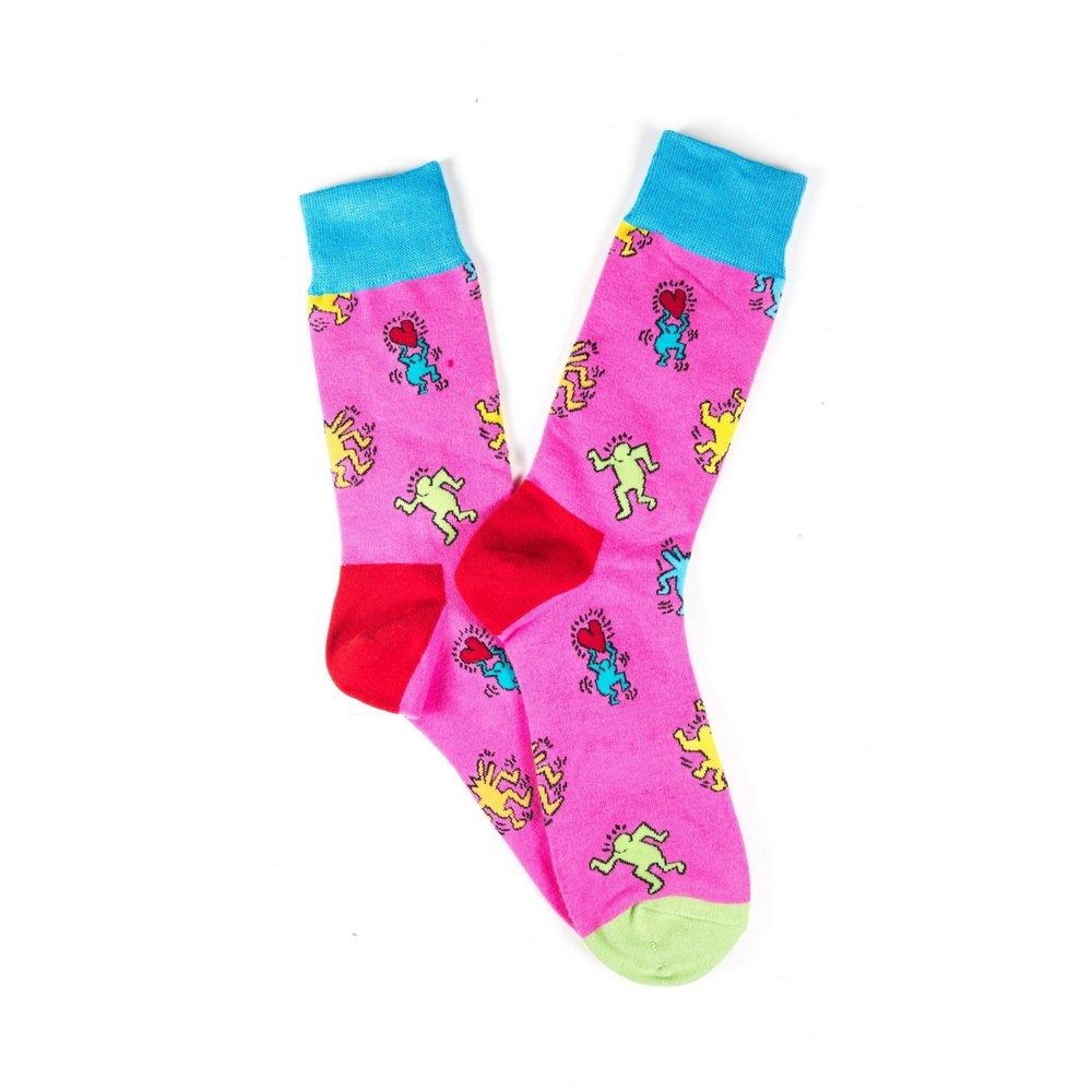 Funky novelty colourful socks for men and women in pink dancing people, fanned flat lay showing pattern