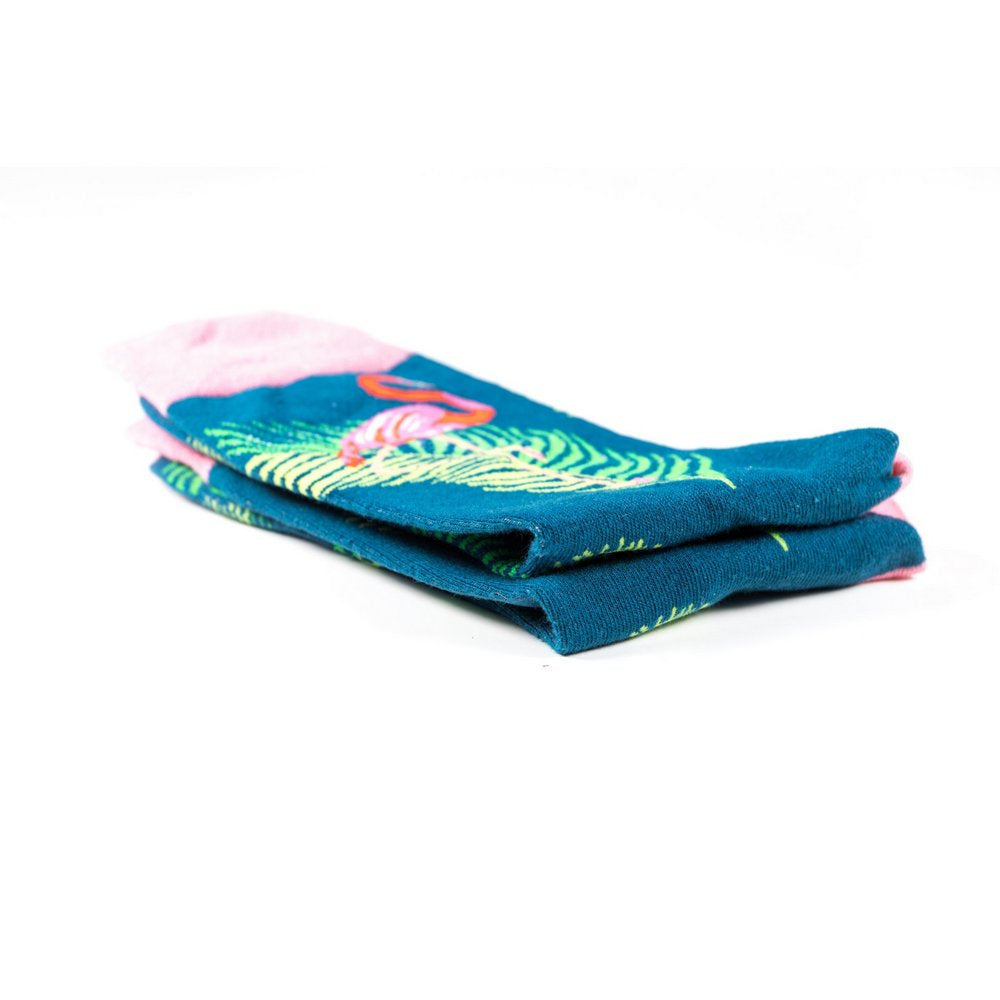 Funky novelty colourful socks for men and women in blue flamingo print, close up showing thickness