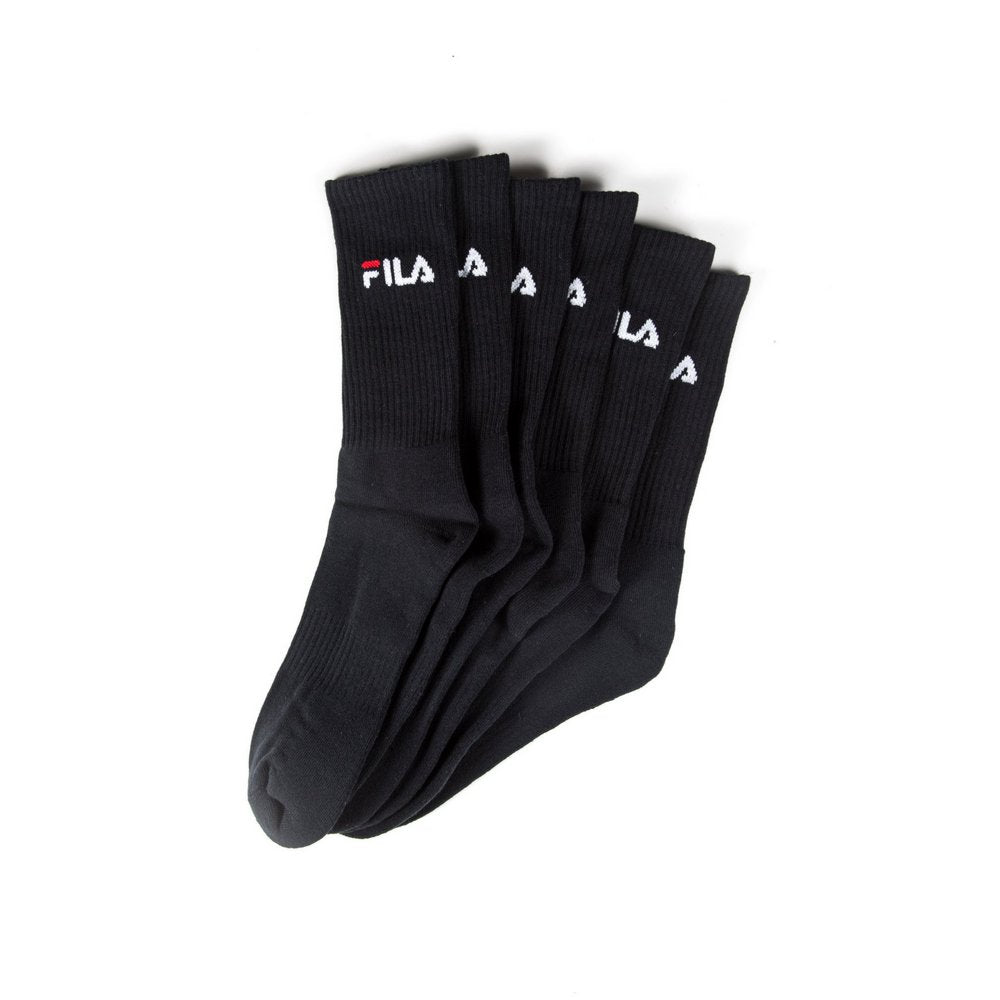 FILA Cushion Foot Crew Sports Socks 3-pack in black, fanned flat lay