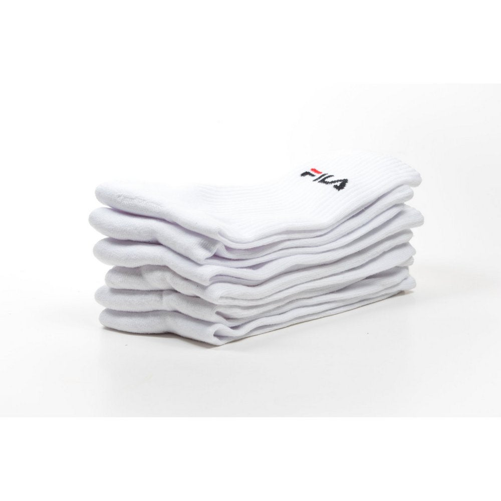 FILA Cushion Foot Crew Sports Socks 3-pack in white, FILA logo and view from side