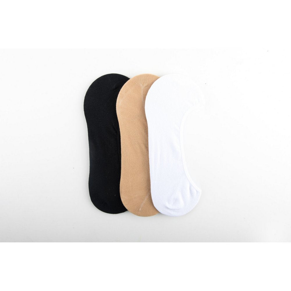 Invisible Cotton Footlet No Show Socks for men and women in black, beige, white, vertical flat lay