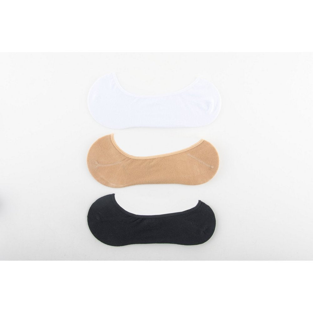 Invisible Cotton Footlet No Show Socks for men and women in black, beige, white, flat lay