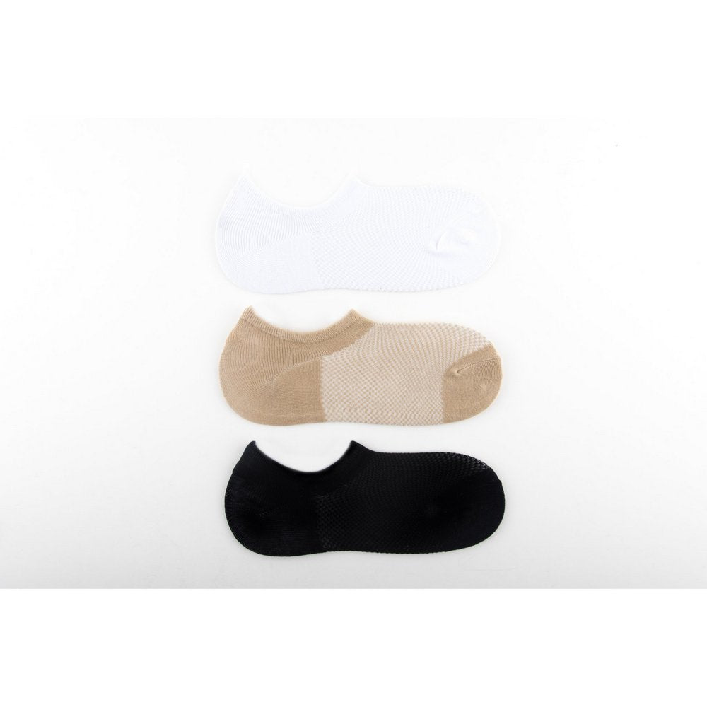 bamboo no show socks with silicon pad in black, beige and white