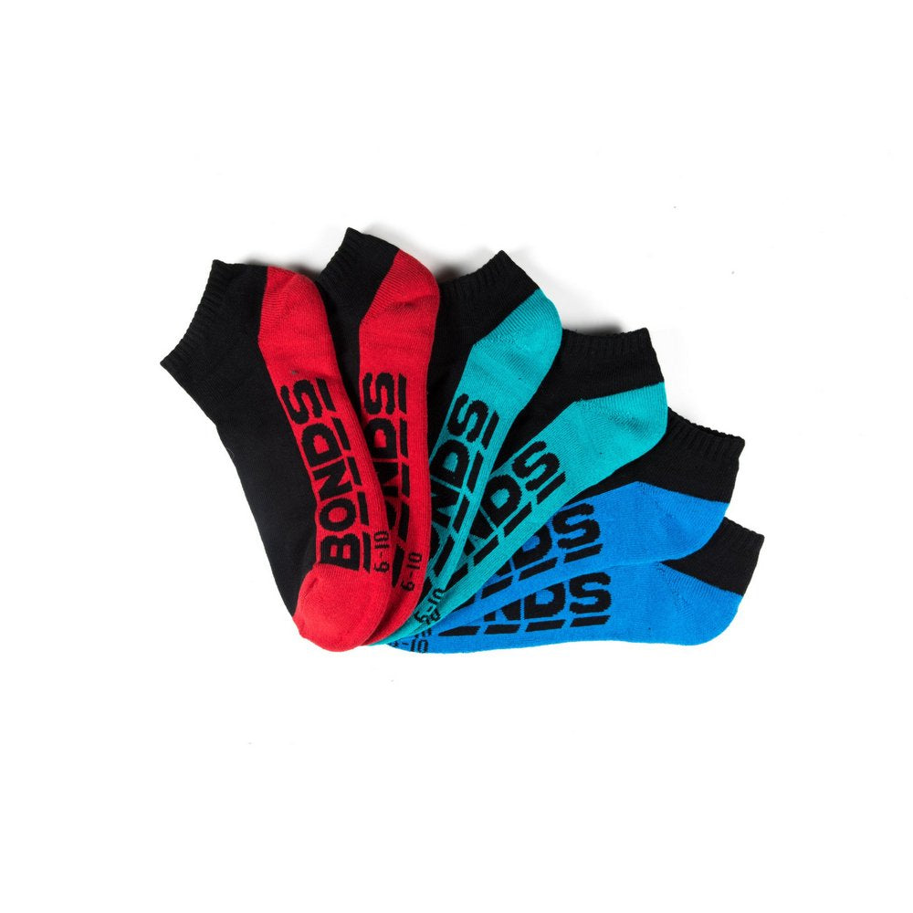 Mens sports socks online australia, BONDS pack in black with multi colour soles