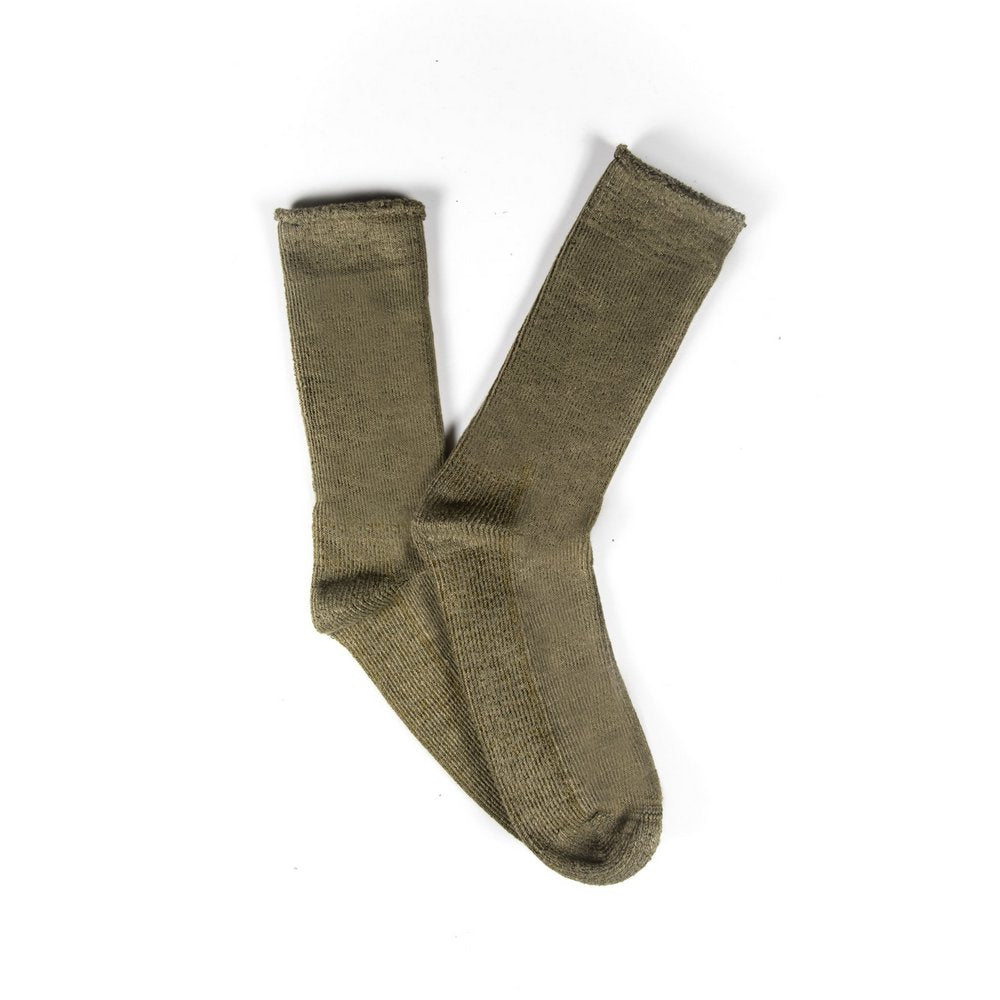Mens thick bamboo work socks, made in Australia, fanned flat lay showing khaki colour