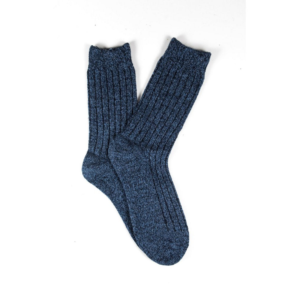 Mens wool socks melbourne in blue marle, fanned flat lay showing colour