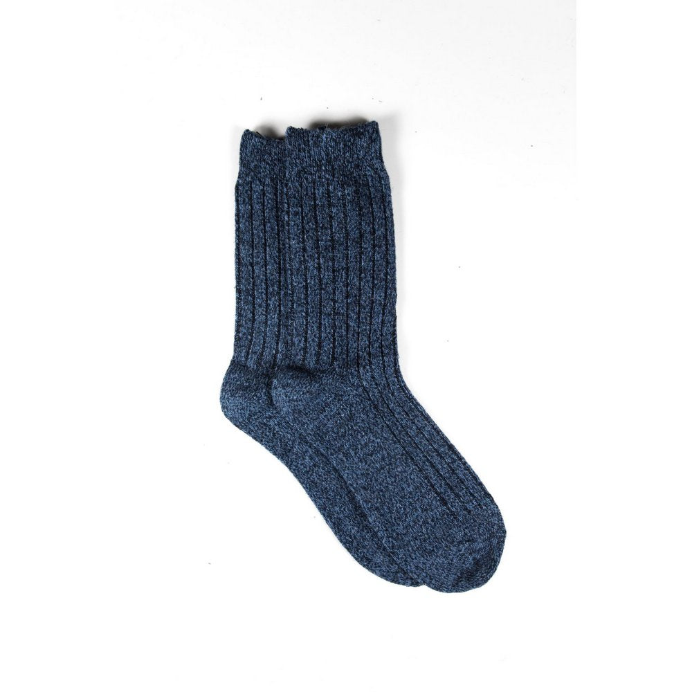 Mens wool socks melbourne in blue marle, vertical flat lay showing length