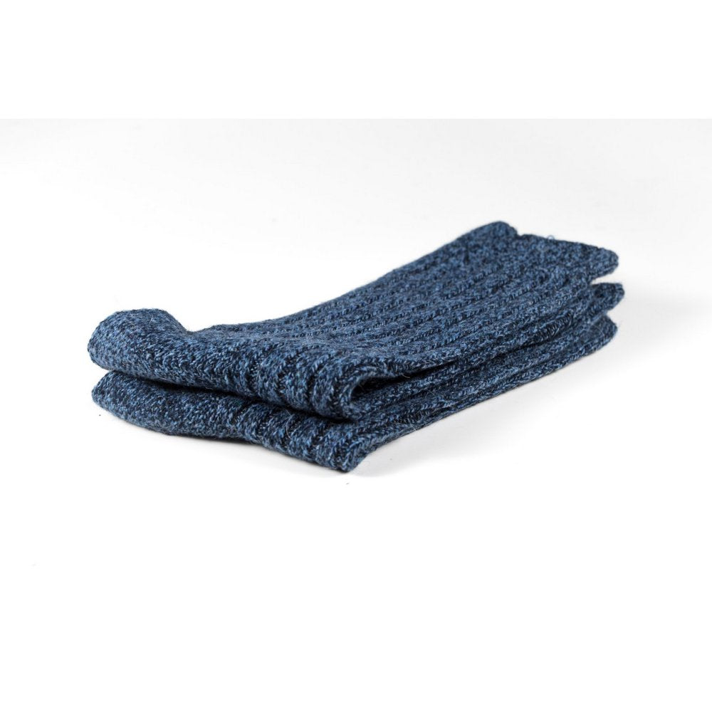 Mens wool socks melbourne in blue marle, close up showing thickness