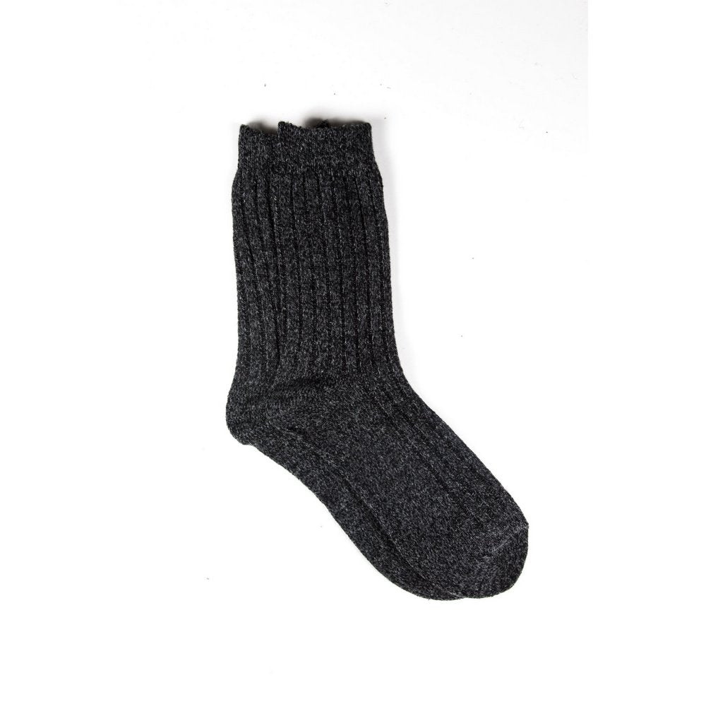 Mens wool socks melbourne in dark grey marle, vertical flat lay showing length
